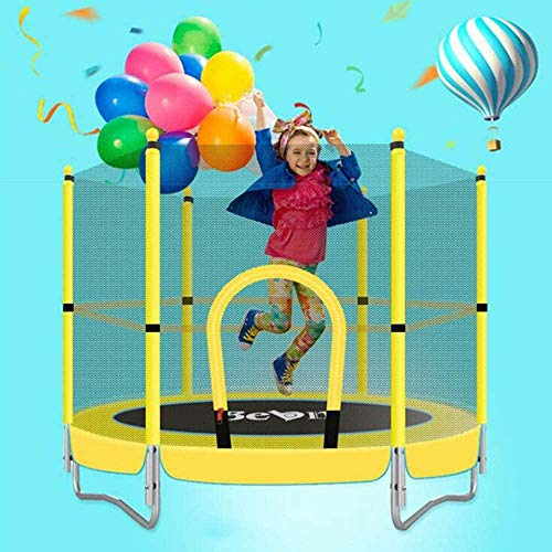 LKFSNGB Kids Trampoline 5Ft Outdoor Indoor Mini Trampolines With Enclosure Net & Spring Pad Bulit-In Zipper Heavy Duty Steel Frame-Yellow
