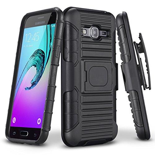 Galaxy Sky Case, J3/J3 V Case, Galaxy Sol Case, TILL Holster Locking Belt Swivel Clip Heavy Duty [Built-in Kickstand] Combo Case Defender Cover for Samsung Galaxy Amp Prime/Express Prime [Black]