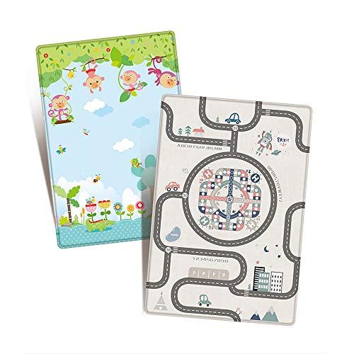 INFILM Baby Krabbelmatte, doppelseitige dicke Schutzmatte, faltbar, weich gepolsterte Bodenmatte, rutschfeste Unterlage für Säuglinge und Kleinkinder, 180 x 120 cm