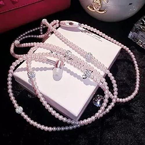 Mingruie Wired Earphone Jewelry Pearl Necklace Earbud Headset Beads 3 5mm Pink for Iphone Android product image