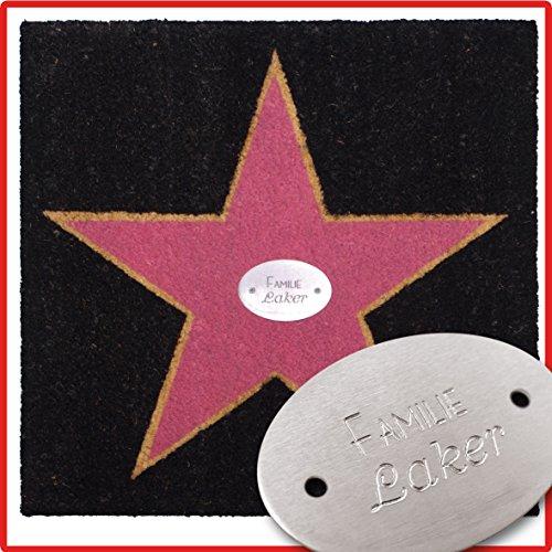 Fußmatte Walk of Fame - inklusive Wunschbeschriftung - personalisierbar mit Namen oder Spruch, 60 x 60 cm