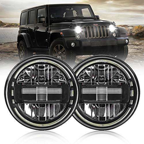 7 Inch Led Headlights DOT Approved Round Headlight with DRL Low Beam and High Beam Compatible with Jeep Wrangler JK LJ CJ TJ 1997-2018 Headlamps Hummer H1 H2-2020 Exclusive Patent (Black)