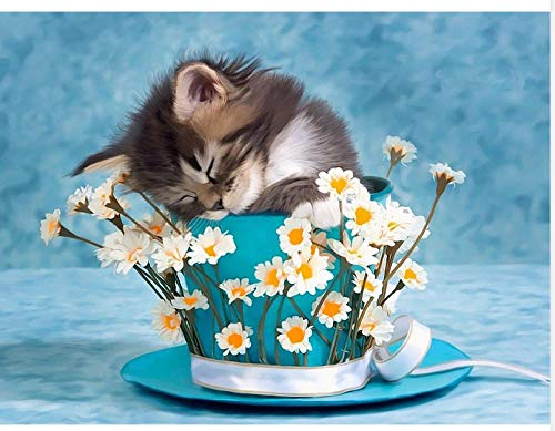 DIY digitale schilderij door cijfers Kits kat dier in bloempot nieuwe verf door nummers op canvas cadeau voor volwassenen en kinderen verjaardag bruiloft kerstdecoratie decoraties
