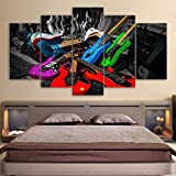 Wslin Cuadro sobre Lienzo Modular Canvas Painting Home Decor 5 Panel Colorful Rock Guitarra Eléctrica Imágenes Living Room HD Impreso Poster Wall Art Impresiones En Lienzo 200X100Cm