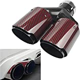 Vechkom 2.5'Inlet 63MM Double Exhaust Tip Carbon Car Tail Tip 3.5' Outlet (Glossy Red and Black)