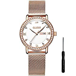 Rose gold strap/White surface Waterproof Rhinestone Multifunction Watch