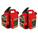 Surecan Self Venting Easy Pour 2.2 Gallon Flow Control Gas Container (2 Pack)