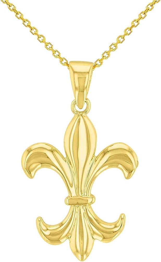 Solid 14K Yellow Gold Simple Fleur de Lis Charm Pendant Necklace