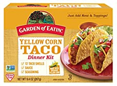 One 12 count box of Garden of Eatin' Yellow Corn Taco Dinner Kit Includes taco shells, seasoning and sauce made with quality ingredients and organic corn Certified organic corn and Non-GMO Project Verified Gluten-free and Kosher Does not contain hydr...