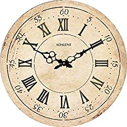 Adalene Wall Clocks for Living Room Décor - 12 Inch Large Farmhouse Wall Clock Silent, Non Ticking Vintage Rustic Wooden Wall Clock, Decorative Retro Roman Numeral Wood Wall Clocks Battery Operated