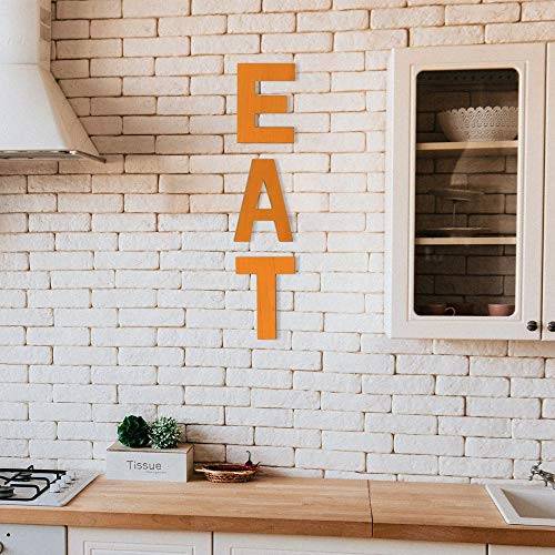 N/V Rustic Kitchen Signs Wall Decor Wood Signs for Kitchen Decorations Wooden EAT Block Letters for Kitchen Wall Decor, Dining Room & Eatery, Warm Orange Kitchen Decor
