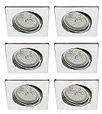 Trango 6 set Faretto a LED da incasso TG6729-068SMO in quadrato cromato, apparecchi da incasso a soffitto, faretti a soffitto, spot da incasso con modulo LED da 6x 5 Watt - Ultra flat solo 3cm