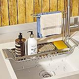 WeChip Organizador de Fregadero de Cocina,soporte de esponja,Telescópica de Acero Inoxidable Soporte y organizadore para utensilios,cesto de desagüe del fregadero para cocina y baño,Grande-Plata.
