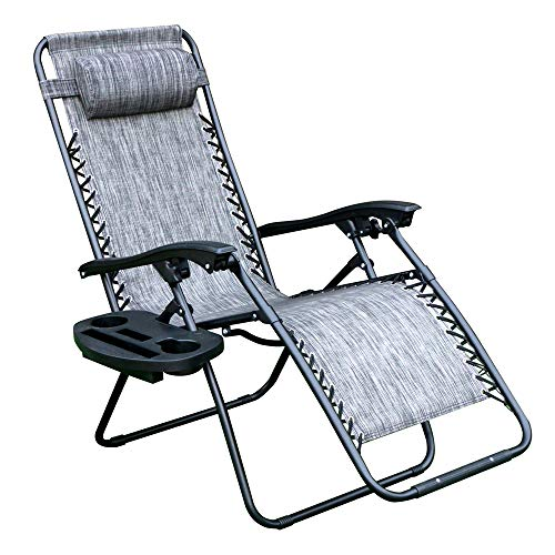 WEGO Zero Gravity Chair, Lawn Chair Flolding Recliner Lounge Chair with Removable Pillow and Side Table, Gray