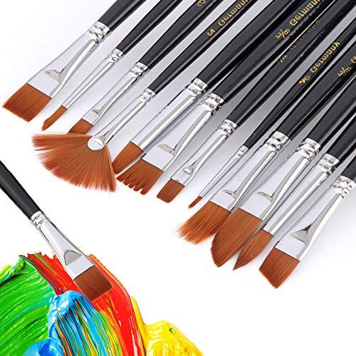 pinselset acrylfarben, 12 Stück Pinsel Set Hölzernen Griff Pinsel Künstler Satz für Aquarell Ölgemälde, Perfektes Malerei Ölfarben Brush Set für Anfänger, Kinder, Künstler (black)