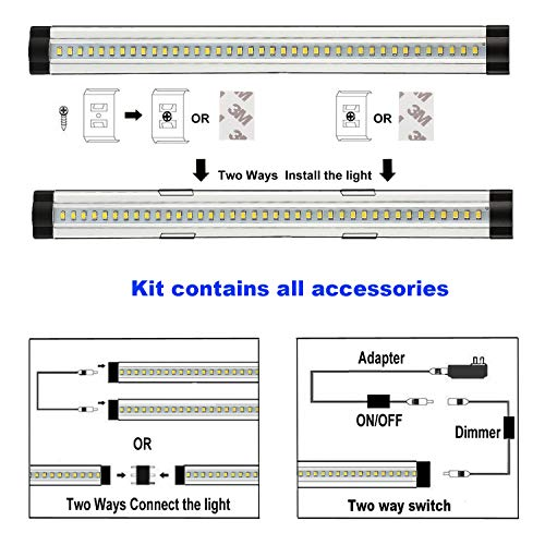 LXG 12in Dimmable LED Under Cabinet Lighting, 12W 5000K Daylight 1000LM, Clear Cover Led Strips,11key Remote Control,4 Pack