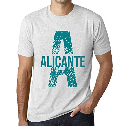 Herren Tee Männer Vintage T-Shirt Letter A Countries and Cities Alicante Weiß Gesprenkelt