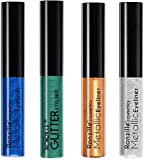 Ronzille Coloured Glitter Eye Liner Green Blue Silver Rosegold Pack of 4