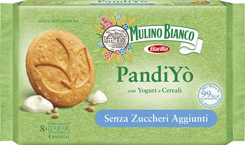 Mulino Bianco PandiYò Biscotti Frollini con Yogurt e Cereali Senza Zuccheri Aggiunti, Senza Olio di Palma, Confezione 200 g con 8 Monoporzioni da 4 Biscotti