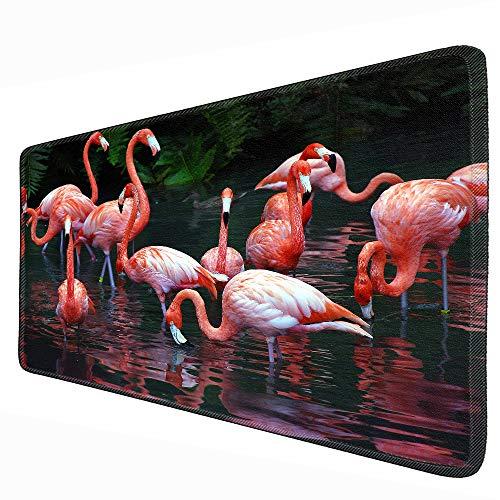 Flamingo muismat met vergrendelingsrand, antislip, slijtvast, muismat, tafelkleed, afmetingen 80 x 30 cm, 90 * 30cm