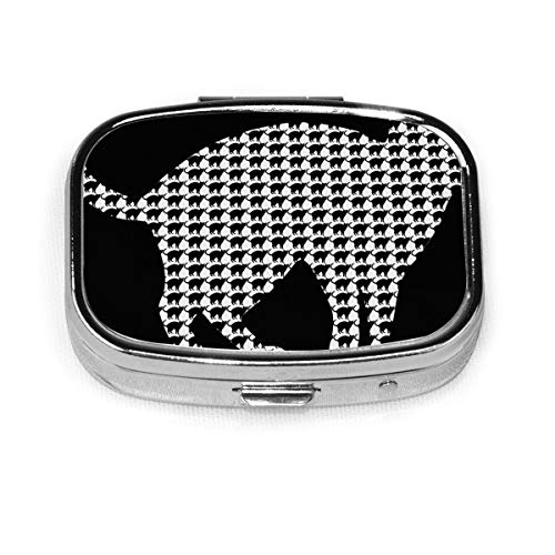 Cat Print Custom Fashion Silver Square Pill Box Medicine Tablet Holder Wallet Organizer Case For Pocket Or Purse Vitamin Organizer Holder Decorative Box