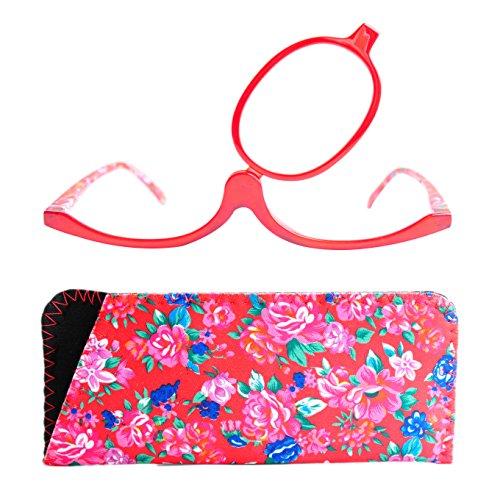 Make-Up Schminkbrille mit klappbaren Brillenglas, Modische Schminkhilfe mit GRATIS Brillenetui +2.5 Dioptrien (Rot)