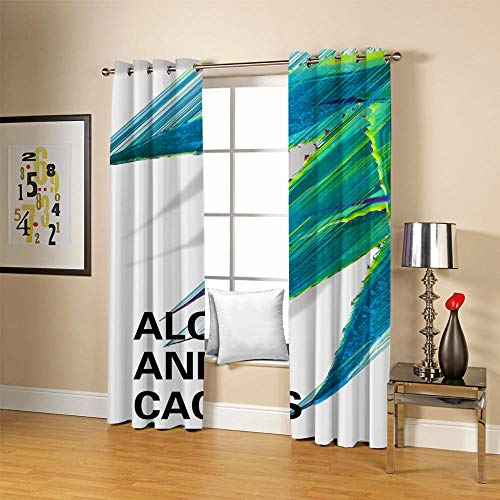 QHDIK Printed Kids Curtains 3D Aloe and cactus eyelet curtains Childrens Finished Curtain Thermal Insulated Blackout Window Curtains For Bedroom Nursery 2x 30 x 65 inch(Width x Height)