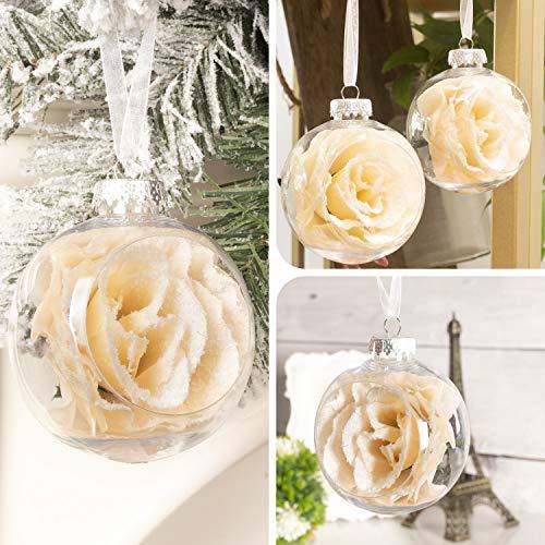 Art Beauty, palline di Natale trasparenti da 80 mm, con fiore di rosa floccato, 6 pezzi, decorazioni per albero di Natale (Champagne)