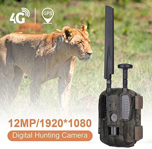 4G GPS Wildkamera Fotofalle 12MP 1080P mit Handy übertragung, IP66 wasserdichte Jagdkamera mit bewegungsmelder 54 Pcs Low-Glow 940nm Infrarot-LEDs, Infrarot-Nachtsicht 20m