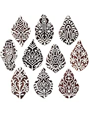 Royal Kraft Flower Wooden Printing Stamps (Set of 10) - DIY Henna Fabric Textile Paper Clay Pottery Block Blocks Htag2179