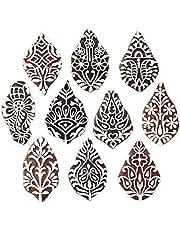 طوابع طباعة خشبية لزهرة كرافت الملكية (مجموعة من 10 قطع) - صناعة يدوية من نسيج الحناء ورق الطين كتل الفخار Htag2179