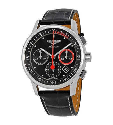 Longines Heritage automatico Chronorgaph quadrante nero uomo orologio L4.754.4.52.4