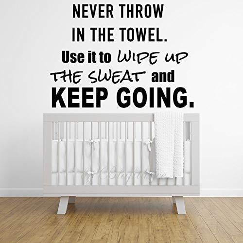 Calcomanías de pared para sala de estar, nunca tirar en la toalla, calcomanía de pared para niños, habitación de niños, dormitorio de 29.5 pulgadas