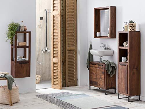 Woodkings® Badmöbel Set Sydney 4teilig, massiv Holz, Badezimmer Schränke schmal, für kleines Bad, Hochschrank Regal Waschbeckenunterschrank Spiegel, Metallfuß, auch hängend möglich (Akazie dunkel)