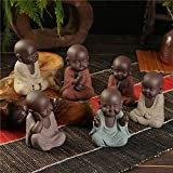 Pequeños adornos 6pcs / set Estatuas de Buda Pequeño Monje Color Arena Cerámica Cerámica Craft Figurine Sculpture Fengshui Arenisca Inicio Oficina Decoración   Código de productos básicos: LJW-429