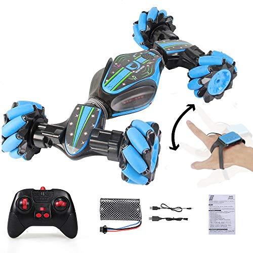 ELVVT 2,4 GHz RC Stunt Car Radio Control 4WD Double-Sided Fahrzeug Gesture Sensor Uhr Steuerung deformierbare Elektro Buggy for Kinder Weihnachten Geburtstags-Geschenk (Color : Blau)
