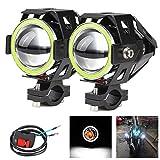 2x Fari moto con luci Angel Eyes CREE U7 DRL Fari fari di guida per auto Moto ATV Faretti anteriori High/Dim/Strobe 3 modalità 6500K Interruttore colore bianco incluso