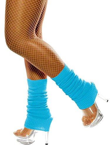 Smiffys Damen Beinstulpen, One Size, Neon Blau, 39453