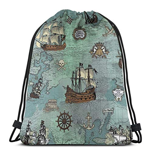 Yuanmeiju Pirate Map Nautical Sea Print Shoulder Bolsa con cordón Backpack String Bags School Rucksack Gym Sport Bag Lightweight