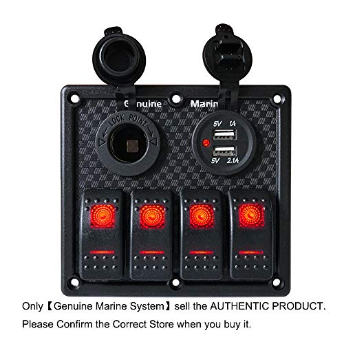 Camper 4 Gang On-Off Rocket Switch Panel Red LED Indicator, Waterproof with 15A Fuse 5V Dual 2.1A USB Charger Socket,12V Power Socket for Vessels Marine