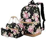 Schulrucksack Mädchen Teenager Damen Schultasche Canvas Schulranzen Set Blumen Rucksack für...