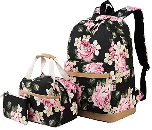 Schulrucksack Mädchen Teenager Damen Schultasche Canvas Schulranzen Set Blumen Rucksack für Mädchen Schule Freizeit mit Lunchpaket Tasche und Mäppchen
