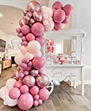 Rose red Balloon Garland Arch Kit – 100 Pack Rose red Baby Pink Metallic Rose Gold Balloons ,Double Latex Balloons for Princess Wedding Baby Shower Birthday Evening Decorations