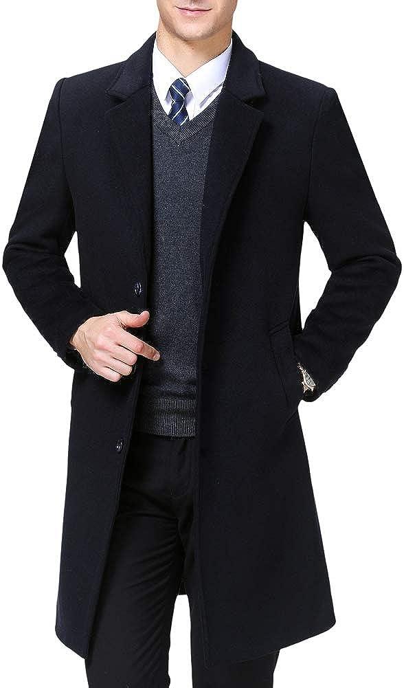 KUYOMENS Men's Winter Trench Coat Slim Fit Wool Blend Long Pea Coat Jacket Business Suits