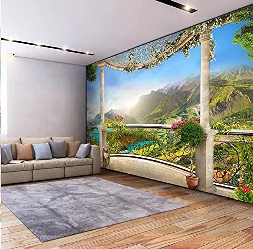 Papel pintado Mural 3D Ventana Balcón Paisaje de montaña Dormitorio Sala de estar Sofá TV Fondo Pared Decoración para el hogar-200 * 140 cm
