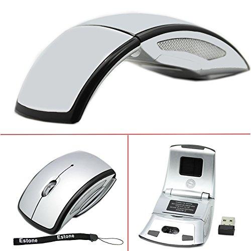 HeroNeo 2,4 G Wireless Maus schnurlos faltbar zum-in Transceiver USB Funkmaus Klappbare Maus silber