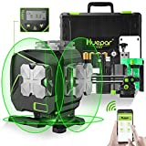 Huepar 3x360° Self-Leveling Laser Level with LCD Screen, 3D Bluetooth Connected Green Beam Cross Line Tiling Floor Laser Tool -360° Horizontal/Vertical Laser Line -Remote Control&Hard Carry Case S03DG