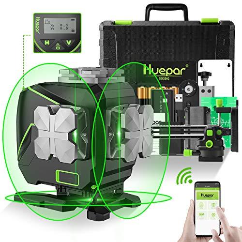 Huepar 3x360 °Nivel láser autonivelante con pantalla LCD, 3D conectado por Bluetooth, Herramienta láser línea cruzada de haz verde, 360 ° Línea láser horizontal/vertical-Control remoto incluye S03DG