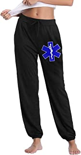 Women's Fit Sweatpant, 100% Cotton EMS Running Pants for Womens