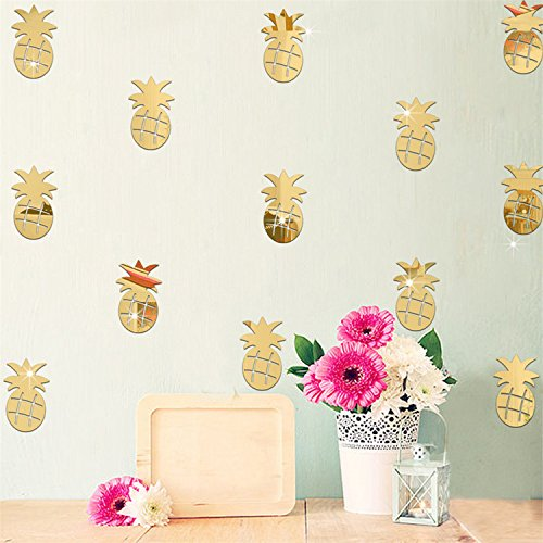 VancyTop Cute Gold Pineapple Mirror Effect Wall Stickers Home Kitchen Kids' Room Nursery Decoration
